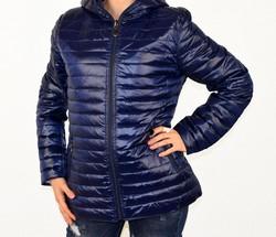 Дамско яке с две лица големи размери сезон пролет - есен - 1523 - тъмно синьо