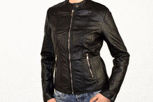 Кожено дамско яке - 1521 - черно