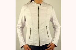 Кожено дамско яке - 1521 - бяло