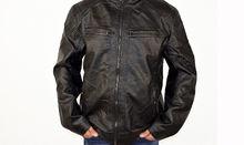 Мъжко кожено яке до 7XL - 1134 - черно