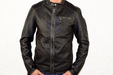 Мъжко кожено яке - 1124 - черно