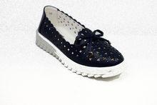 Дамски обувки ЕСТЕСТВЕНА КОЖА - 6600 - тъмно сини