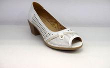 Дамски обувки на нисък ток - 0097 - бели