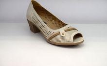 Дамски обувки на нисък ток - 0097 - бежови