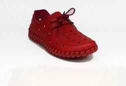 Дамски обувки ЕСТЕСТВЕНА КОЖА с перфорация - 6605 - червени