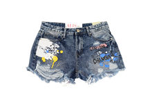 Дънкови дамски къси панталонки - ABC 8802 - сини