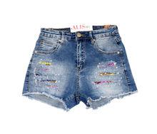 Дамски дънкови къси панталонки - 8806 - сини с пайети