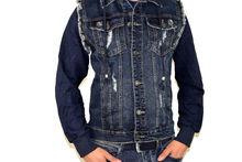 Мъжко дънково яке с текстилни ръкави - 1129 - тъмно синьо