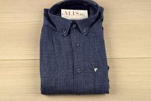 Мъжка ленена риза с къс ръкав - BIRINDELLI 02- тъмно синя изчистена