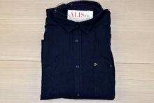 Ленена мъжка риза с къс ръкав - BIRINDELLI LINEN - тъмно синя до 6XL