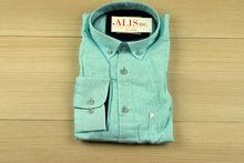 Мъжка ленена риза с дълъг ръкав - BIRINDELLI 07 - синьо/зелена