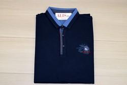 Мъжка тениска с яка - MCS 01 - до 3XL тъмно синя