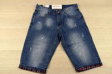Къси мъжки дънки -VIMAN 07 - сини с цветен подгъв от 30 до 42 размер
