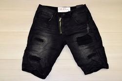 Мъжки къси дънки - LE EYO - черни до 38 размер