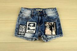 Къси дънкови дамски панталонки - 8813 - светло сини с апликация