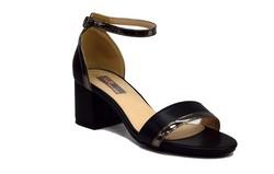 Дамски сандали на среден ток - 5504 - черни