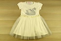Детска рокля с мъниста лебед - бяла от 4 до 8 г.