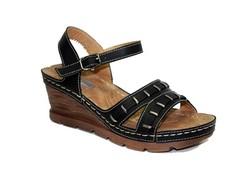 Дамски сандали на платформа - 2810 - черни