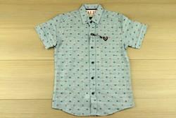 Риза за момче с къс ръкав - светло синя