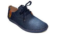 Мъжки спортни дънкови обувки с връзки - 2713 - тъмно сини