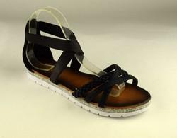 Равни дамски сандали - А 2845 - черни със затворена пета