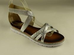Равни дамски сандали - А 2845 - сребристи със затворена пета