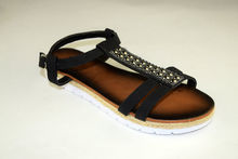 Дамски дънкови сандали - А 2844 - черни