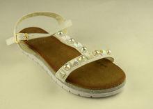Дамски сандали ниски - А 2850 - бели с камъни