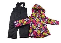 Детски зимен комплект за момичета от 3 до 8 г. - лилав на цветя