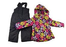 Детски зимен комплект за момичета от 3 до 8г. лилав на цветя