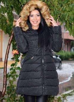 Дълго зимно дамско яке СС 1739 - черно