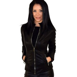 Дамско кожено яке- код М11-черно