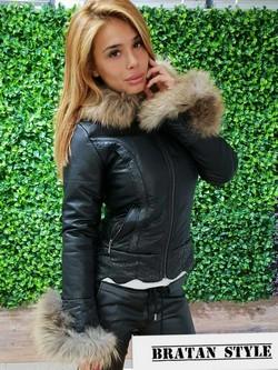 Дамско зимно яке с естествен пух -код 3115