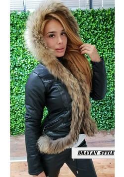 Дамско кожено яке с естествен пух- код 3212