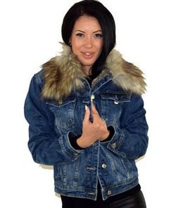Дънково дамско яке с топла  подплата - синьо