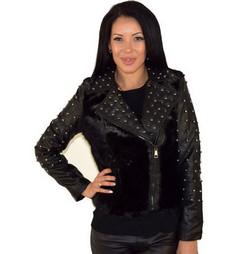 Дамско кожено яке с топла подплата - черно