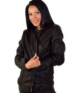 Кожено дамско яке в макси размери - черно