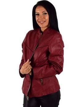 Кожено дамско яке - бордо