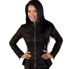 Дамско кожено яке MINI - черно