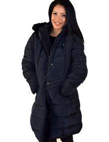 Дълго зимно дамско яке до 5ХЛ - тъмно синьо