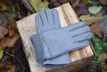 Дамски ръкавици ЕСТЕСТВЕНА КОЖА-код 033-сиви