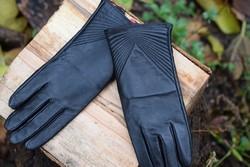 Дамски ръкавици ЕСТЕСТВЕНА КОЖА- код 036-черни