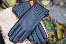 Дамски ръкавици ЕСТЕСТВЕНА КОЖА с дебела вата-код 039-черни