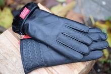 Дамкски ръкавици ЕСТЕСТВЕНА КОЖА с дебела вата- код 042-черни