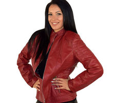 Дамско кожено яке до 5ХЛ - червено