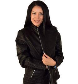 Дамско кожено яке до 5ХЛ - черно