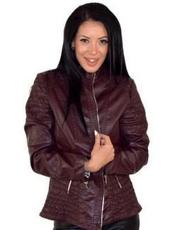 Дамско кожено яке в макси размери до 5ХЛ - бордо