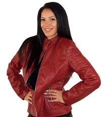 Кожено дамско яке до 5XL - червено