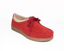 Дамски обувки ниска подметка ЕСТЕСТВЕН ВЕЛУР - червени