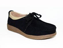 Дамски обувки ниска подметка ЕСТЕСТВЕН ВЕЛУР - черни